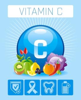 Ascorbinsäure vitamin c-reiche lebensmittelikonen mit menschlichem nutzen. flaches icon-set für gesundes essen. diät infografik diagramm poster mit hagebutte, kiwi, orange, chili pfeffer, schwarze johannisbeere.