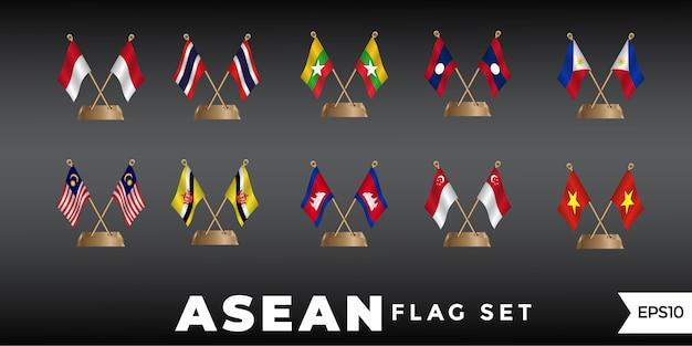 Asean-flaggendesign-schablonenvektor