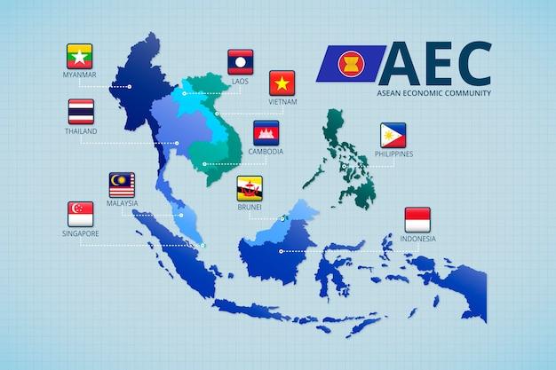 Asean karte infografik