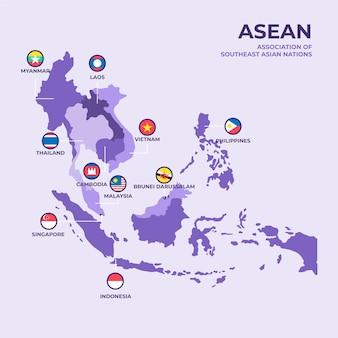 Asean karte mit flachem design