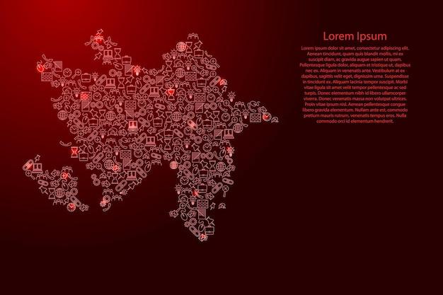 Aserbaidschan-karte aus roten und leuchtenden sternensymbolen mustersatz seo-analysekonzept oder entwicklung, geschäft. vektor-illustration.