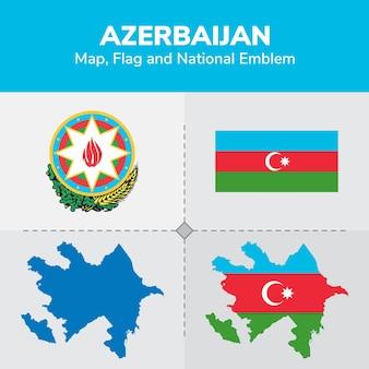 Aserbaidschan karte flagge und national emblem