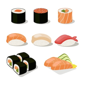 Asia food icon set mit sushi rolls sashimi.