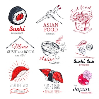 Asian food sketch label set