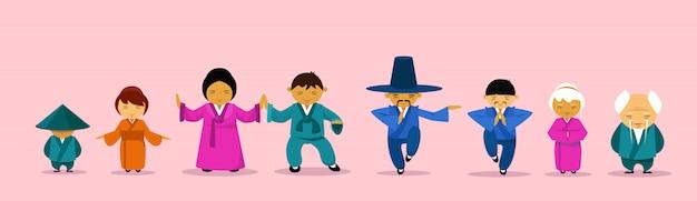 Asiatische familie, die traditionelle kleidungs-karikatur childern und eltern ost trägt