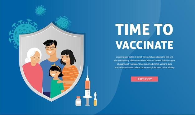 Asiatische familienimpfkonzeptentwurfsentwurfszeit, um bannerspritze mit impfstoff gegen kovid grippe zu impfen