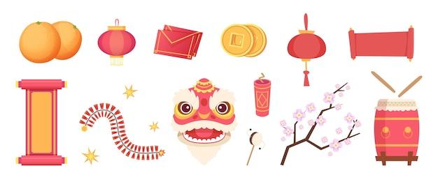 Asiatische festliche elemente. drachenmaske, feuerwerk, trommel und schriftrollen, papierlaterne und münzen isoliert gesetzt. traditionelle objektsammlung des illustrationsfestivals
