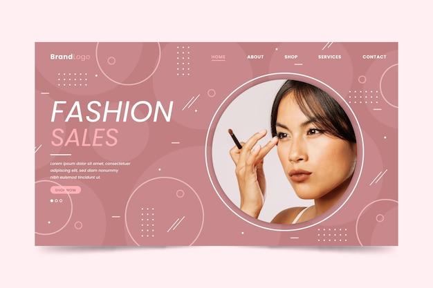 Asiatische frau, die die landingpage des make-up-modeverkaufs trägt