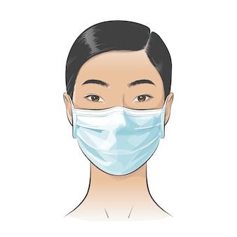 Asiatische frau, die medizinische einweg-gesichtsmaske trägt, um gegen stadt mit hoher lufttoxizität zu schützen