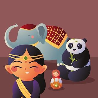 Asiatische frau mit symbolen