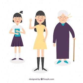 Asiatische frauen in verschiedenen altersstufen