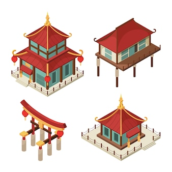 Asiatische gebäude isometrisch. traditioneller japaner des chinesischen tors bringt architekturbilder des pagodendach-shintoismus 3d unter