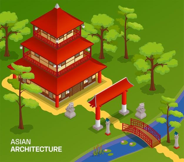 Asiatische gebäude mit orientalischer architekturillustration isometrisch