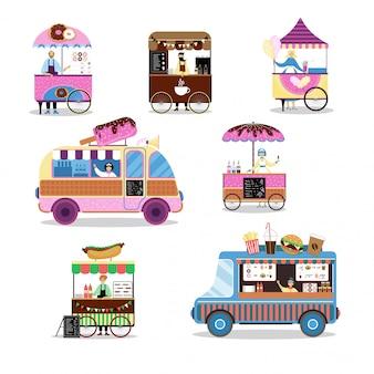 Asiatische geschäftsdienstreise-illustration der fast-food-straße im freien isoliert auf weiß. straßenmarktplätze.