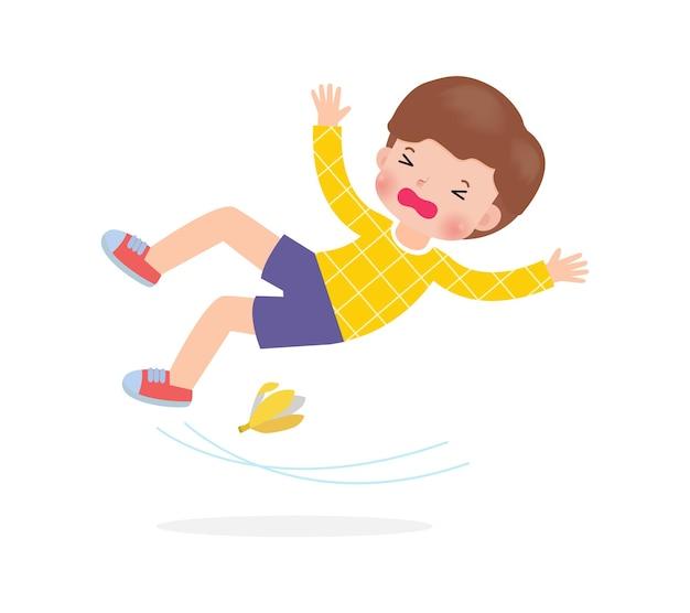 Asiatische kinder rutschen auf bananenschale vektor-illustration isoliert auf weißem hintergrund