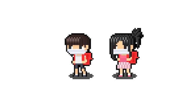 Asiatische kinderfigur der pixelkunstkarikatur mit rotem rucksack.