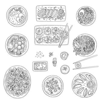 Asiatische küche. chinesische nationale kulinarische lebensmittelübersicht koreanische orientalische menüvektorsammlung. chinesische orientalische küche, telleransichtillustration