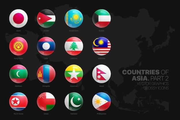 Asiatische länder flaggen glänzende runde symbole gesetzt isoliert auf schwarzem hintergrundteil