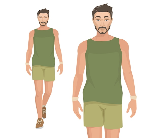 Asiatische männer in sportkleidung.