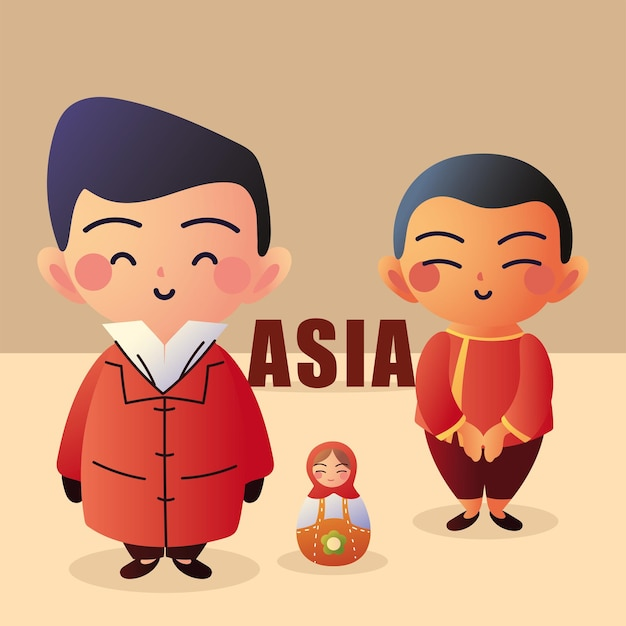 Asiatische männer mit matroschka-puppe