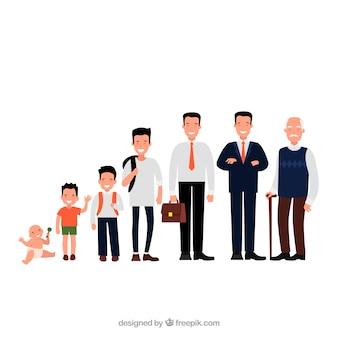 Asiatische männer sammlung in verschiedenen altersstufen