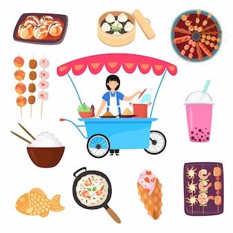 Asiatische, mexikanische, thailändische japanische nahrungsmittel traditionelle köstliche kochreiseillustration lokalisiert.