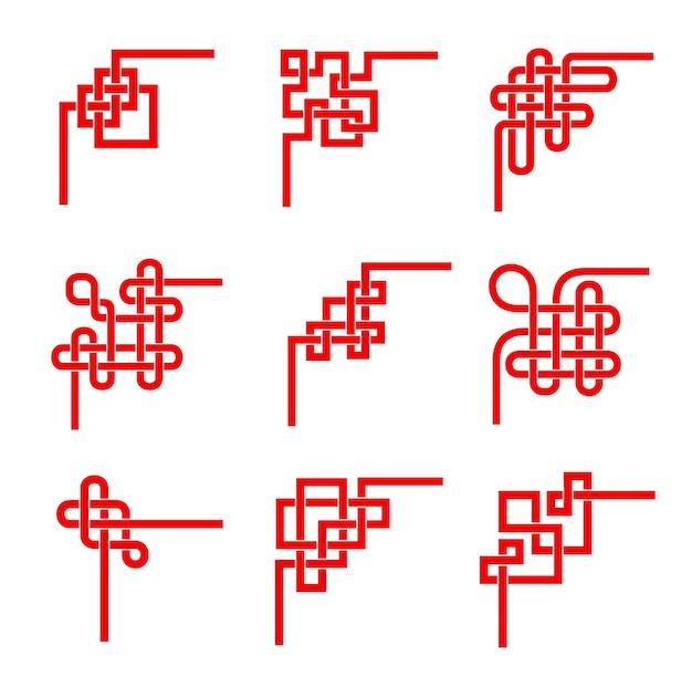 Asiatische rote knoten. chinesischer, koreanischer, japanischer verzierungsvektorsatz. dekorative ecken, grenzen der tibetischen spiritualität des ewigen buddhismus. feng shui glückliche traditionelle elemente, geometrisches ornamentdesign