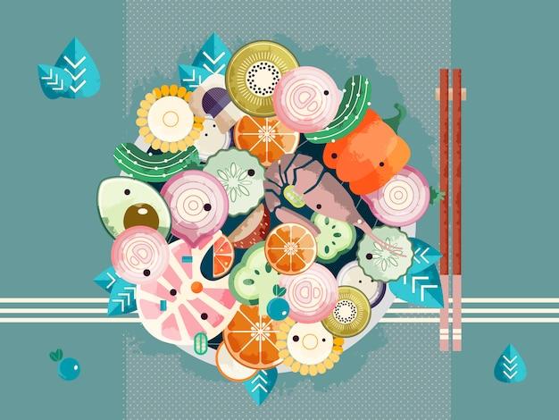 Asiatische schüssel mit essstäbchen