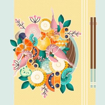 Asiatische schüssel mit stäbchen