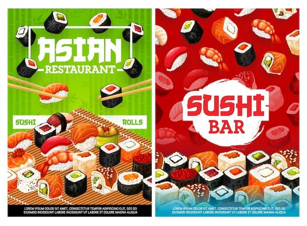 Asiatische sushi-rollen-bar, japanisches restaurantmenü