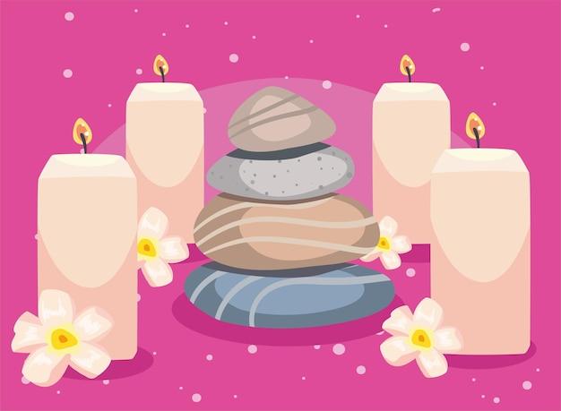 Asiatische therapie- oder spa-steine und duftkerze