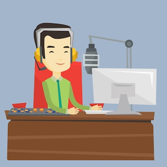 Asiatischer dj, der an der radioillustration arbeitet