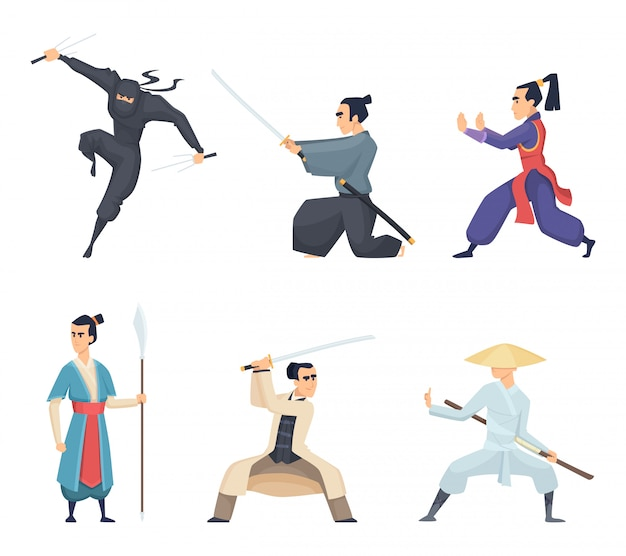Asiatischer kämpfer, mann, der katana traditionelle japan-waffenklingen-samurai-ninja-charaktere lokalisiert hält