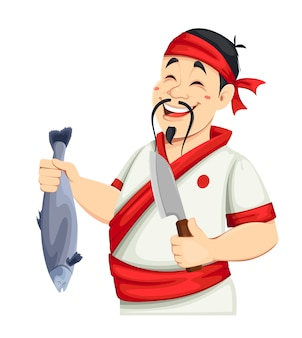 Asiatischer koch, der sushi hält. hübscher japanischer koch