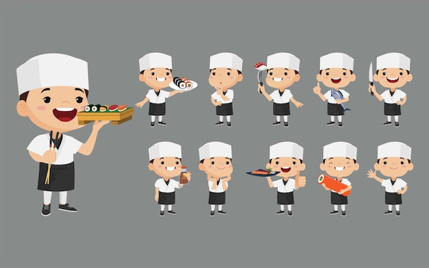 Asiatischer koch mit japanischem koch