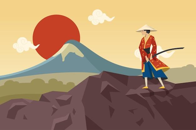 Asiatischer krieger mit schwert, das in den bergen geht und sonne bewundert