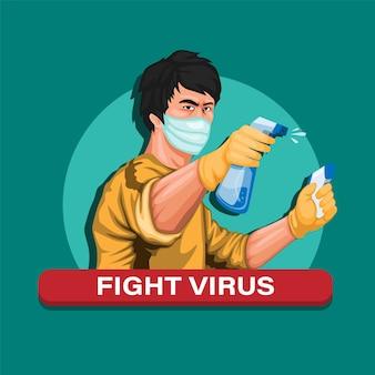 Asiatischer mann, der desinfektionsmittel und thermometer hält