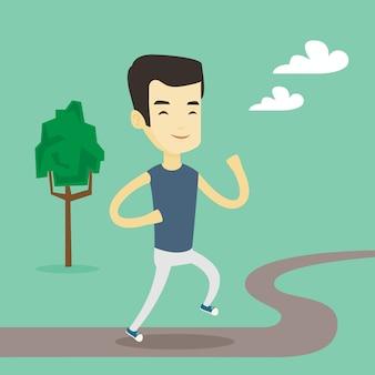 Asiatischer mann läuft.