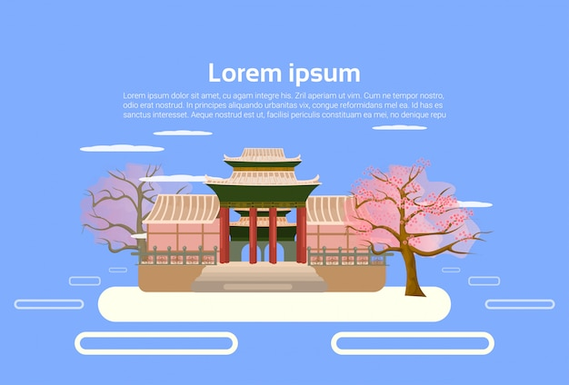 Asiatischer tempel-chinese oder japanisches pagoden-gebäude-landschaftsasiatisches traditionelles architektur-element-konzept