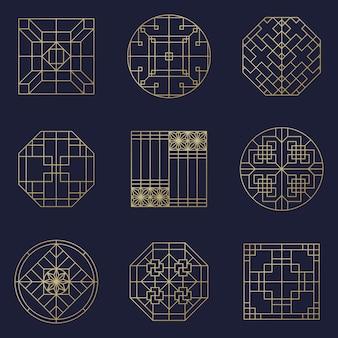 Asiatischer vektorrahmensatz. traditionelle chinesische ornamente