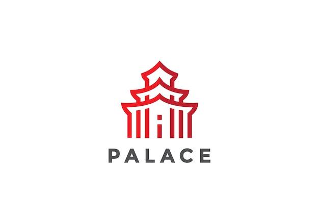 Asiatisches architektur-logo-symbol. linearer stil
