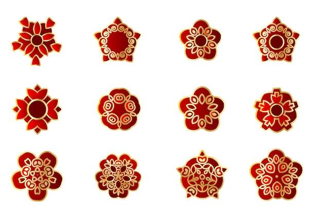 Asiatisches china-japan-blumenset rote stilisierte sakura-knospe geometrisches goldenes blatt traditioneller scherenschnitt