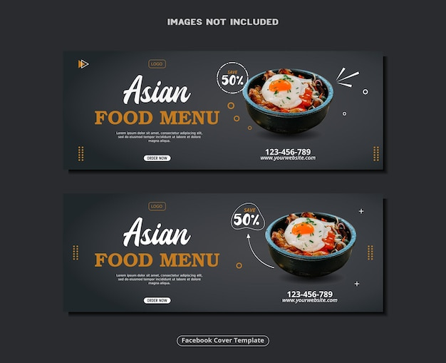 Asiatisches essen facebook-cover-vorlagendesign
