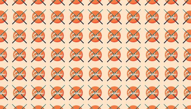 Asiatisches essen. japanische, chinesische küche. sushi-logo mit stöcken. muster, textur, hintergrund, banner