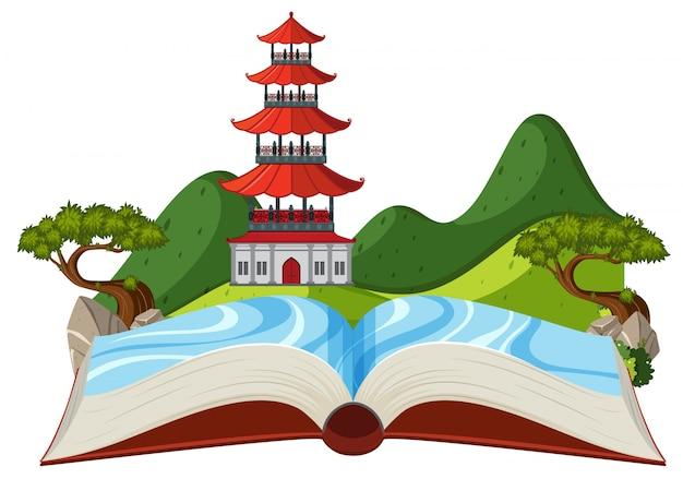 Asiatisches gebäude in offenem buch der natur