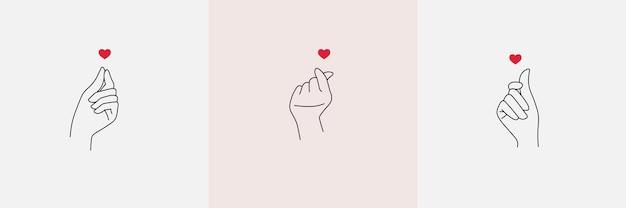 Asiatisches handzeichen der liebesillustrationsentwürfe im flachen stil