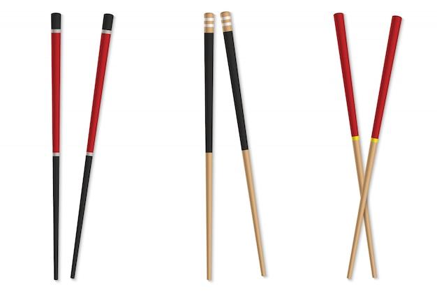 Asiatisches hölzernes essstäbchen lokalisiert. japanischer bambusstock.