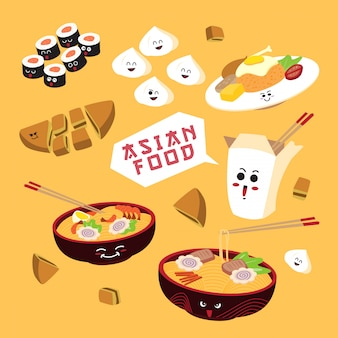 Asiatisches lebensmittel der einfachen karikatur