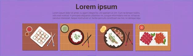 Asiatisches lebensmittel-gesetzte sushi-koreanische thailändische teller-draufsicht-schablonen-hintergrund-horizontale fahne
