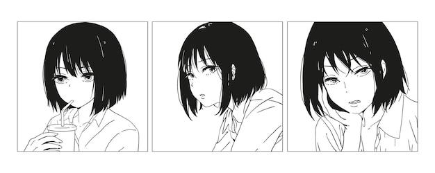 Asiatisches mädchen manga-stil japanischer cartoon comic-konzept anime-charakter handgezeichnete trendy